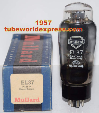 (!!!) (~ Recommended EL37 Single ~) EL37 Mullard black plate NOS (2) upside-down cup-shape getter halos (74ma)