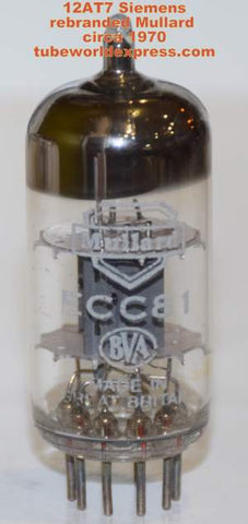 (!!) (~ Recommended Single ~) ECC81=12AT7 Siemens branded Mullard NOS circa 1970 (10.0/10.8ma)