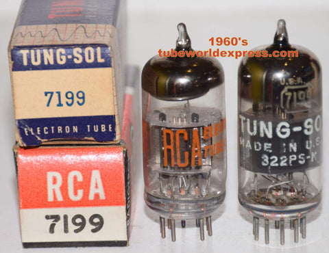 (!!!!) (BEST RCA PAIR) 7199 RCA black plates NOS 1960's, 1 tube branded Tungsol, same build