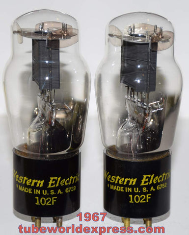 (!!!!) (Best Pair) 102F Western Electric NOS 1967 large getters (1.0ma and 1.1ma) (High Ma and Gm)