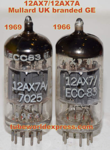 (!!!!!) (Recommended Mullard Pair) 12AX7=12AX7A=ECC83 Mullard England branded GE ribbed plates NOS 1966 and 1969 (163 Series) (1.1/1.2ma and 1.2/1.3ma)