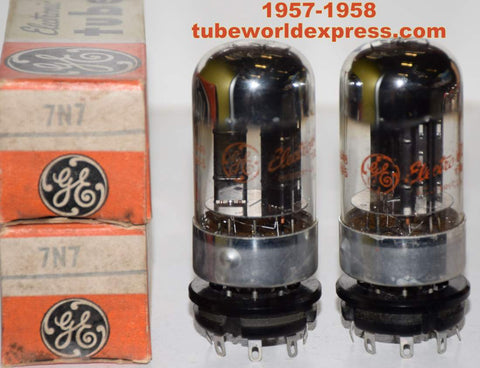 (!!!!!) (Recommended Pair) 7N7 Sylvania branded GE chrome top NOS 1957-1958 (8.4/9.0ma and 8.6/8.8ma)