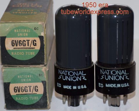 (!!!!) (#1A 6V6GT National Union Pair 1950) 6V6GT National Union coated glass NOS 1950 (43.8ma and 44.0ma) 1% matched