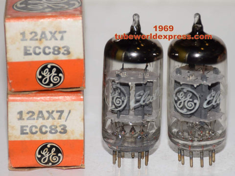 (!!!!!) (Best Pair) 12AX7=ECC83 GE NOS 1969 (1.0/1.0ma and 1.0/1.1ma) (Matchless, Fender, Tow-Rock, Dumble, VOX, Supro)