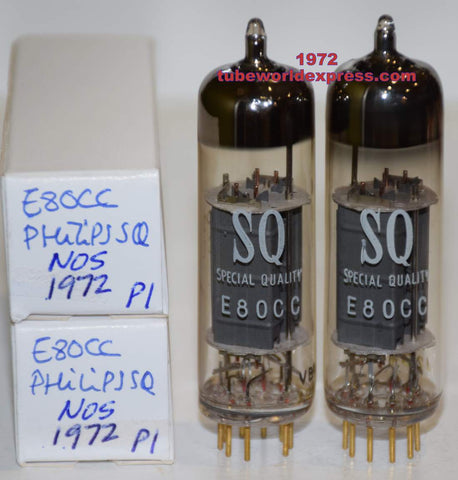 (!!!!) (Recommended Pair) E80CC=6085 Philips SQ Holland NOS 1972 (5.4/6.6ma and 5.3/6.6ma)