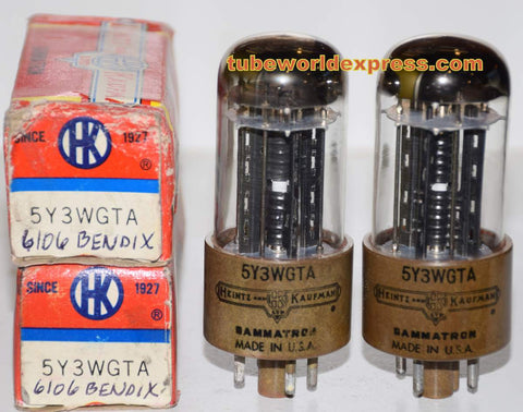 (!!!) (2nd Best PAIR) 6106 Bendix 1950's rebranded 5Y3WGTA Heintz & Kaufman NOS (66/40 and 70/40 x 2 tubes)