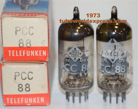 (!!!!) (2ND BEST PAIR) PCC88=7DJ8 Siemens branded Telefunken NOS 1973 1-3% matched (11.2/11.6ma and 11.0/12.5ma) (best 6DJ8 sub, Similar sound to 6DJ8 Siemens)