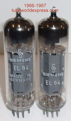 (!!!) (#3 EL84 SIEMENS PAIR) EL84 Siemens Halske Germany NOS 1966-1967 (54.5ma and 57.5ma) (matched on Amplitrex)