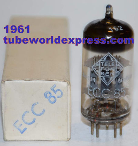 (!!!!) (Best Overall Single) ECC85=6AQ8 Telefunken Germany <> bottom NOS 1961 (11.8/12.4ma)