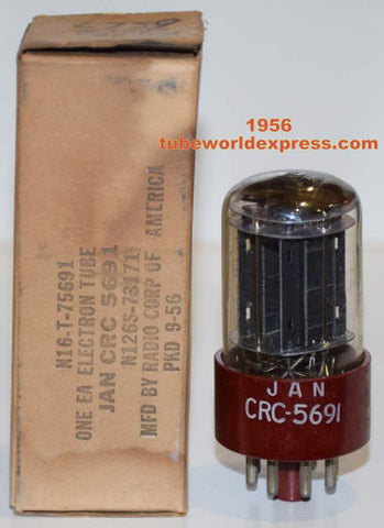 JAN-CRC-5691 RCA red base black plates NOS 1956 (3.2ma/3.3ma) 1% section balance