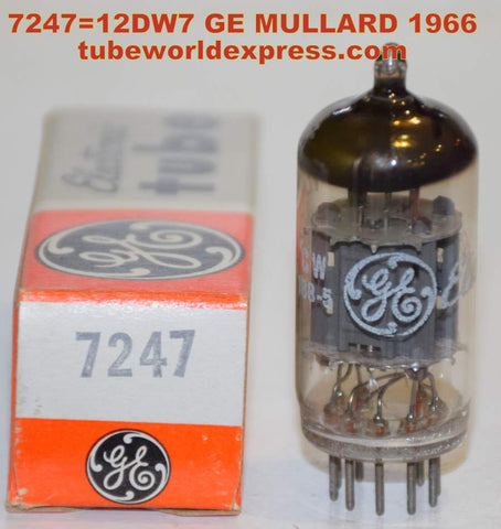 (!!!) (Best Single) 7247=12DW7 GE Mullard England NOS 1966 (1.3ma/12.6ma) (High Ma and Gm)