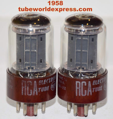 (!!!!) (Best Overall Pair) 5692 RCA RED BASE black plates low hours/like new 1958 same date codes (8.4/8.6ma and 8.0/8.3ma
