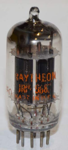 (microphonic tube) JRP-5687 Raytheon NOS black plates D getter NOS 1957 (31/31ma)