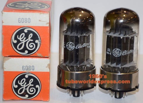 (!!!!) (Recommended Pair) 6080 GE black plates NOS 1960's (110/130ma and 113/145ma) (tests the highest)