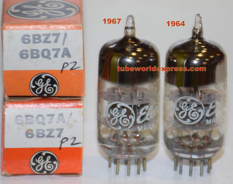 (!!!!!) (Best 6BZ7 Pair) 6BZ7 GE gray plates NOS 1964-1967 same build (10.8/11.4ma and 11.2/11.8ma) (Best 6BQ7A substitute)