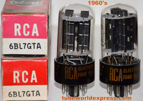 (!!!) (BEST 6BL7GTA RCA PAIR) 6BL7GTA RCA NOS 1960's slightly tilted glass (35.0/35.5ma and 36.5/37ma)1-3% matched