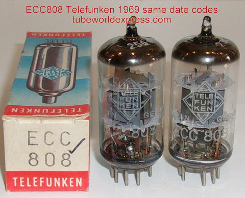 (!!!) (~ Recommended Pair ~) ECC808=6KX8 Telefunken Diamond Bottom used/test like new 1969 same date codes 1% matched (matched on Amplitrex)