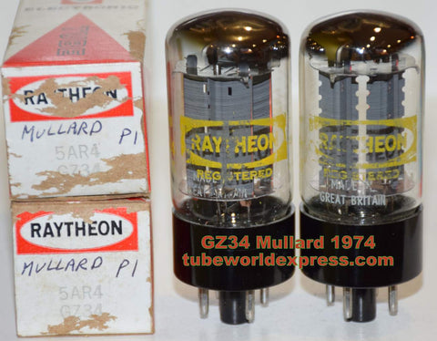 (!!!!!) (Recommendd Pair) GZ34 Mullard rebranded Raytheon NOS 1974 (60/40 x 4 sections) 1% matched (LS300, Dynaco, Latino, Scott, Marshall, Fender, Cary)