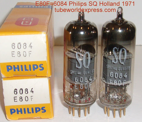 (!!) (#1 6084 - Best Pair) E80F=6084 Philips SQ Special Quality Holland Gold Pins NOS 1971 (3.0ma/3.1ma) 1-2% matched