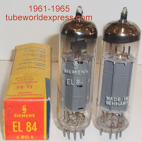 (!!!) (#2 EL84 SIEMENS PAIR) EL84 Siemens Halske Germany NOS 1961-1965 (57.2ma and 57.7ma) (matched on Amplitrex)