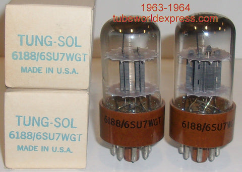 (!!!) (#2 6188 PAIR) 6188=6SU7WGT Tungsol NOS 1963-1964 slightly tilted glass (2.6/2.7ma and 2.7/2.7ma) 1-2% matched