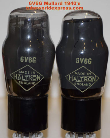 (!!!!!) (Best Mullard Pair) 6V6G Mullard branded Haltron England NOS gray coated glass 1940's (53.2ma and 54.6ma) (matched on Amplitrex)