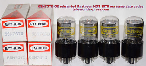 (!!!!!) (BEST GE QUAD) 6SN7GTB GE rebranded Raytheon NOS 1970 era (closely matched)