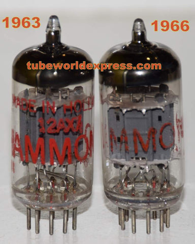 (!!!!) (Recommended pair) ECC83=12AX7 Hammond Holland used/test like new 1963 and 1966 (1.1/1.3ma and 1.1/1.3ma) closely matched