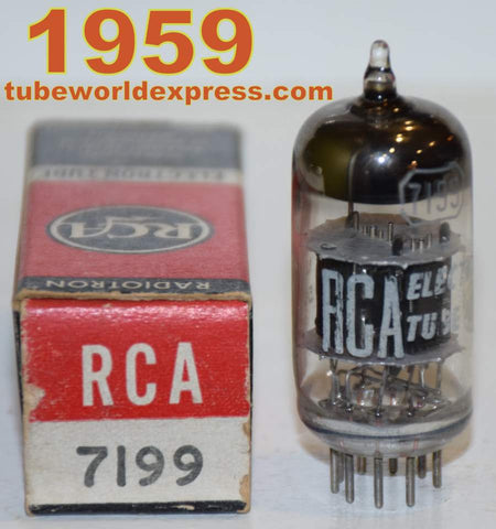 (!!!!!) (Best Overall Single) 7199 RCA black plates NOS 1959 (13.5ma pentode / 9.2ma triode) (rare from 1959) (Highest Gm)