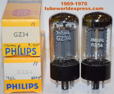 (!!!!!) (Recommended Pair) GZ34 Mullard Blackburn UK branded Philips NOS NOS 1969-1970 (59-60/40 and 60-60/40 x 2 tubes)