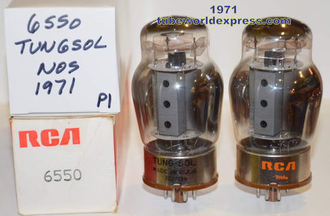 (!!!!!) (Recommended Pair) 6550 Tungsol USA NOS gray plate with vent holes 1971 (128ma and 130ma)