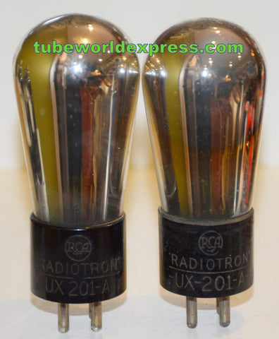 (!!) (Best Pair) UX-201-A RCA Radiotron Balloon used/good 1930's (2.6ma and 2.6ma)