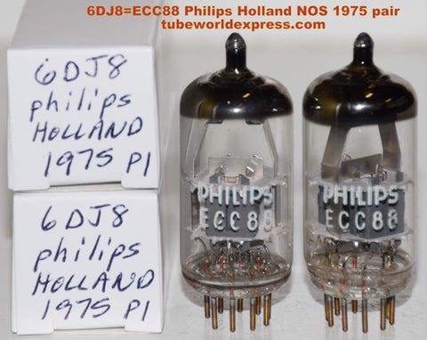(!!!!!) (Best 6DJ8 Pair) 6DJ8=ECC88 Philips Holland NOS 1975 (17.0/18.5ma and (18.0/19.5ma) (Highest ma and Gm)