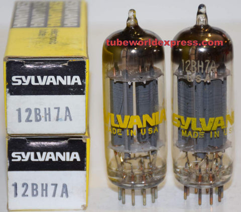 (!!!!!) (Recommended Pair) 12BH7A Sylvania NOS 1960's - 1970 (9.8/10.5ma and 10.6/11ma) (same Gm)