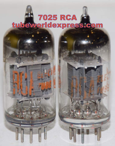 (!!!) (Good Value Pair) 7025 RCA gray used/good 1960's (Gm=1400/1500 x 2 tubes) 1% matched