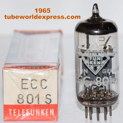 (!!!!!) (Best Single) ECC801S=12AT7 Telefunken Germany <> bottom NOS 1965 (8.5/9.4ma)