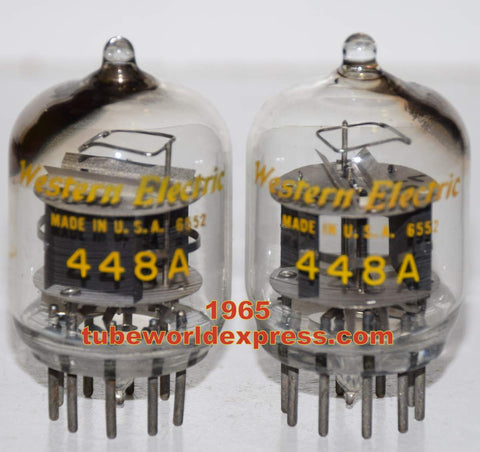 (!!!) (#1 448A tipped top pair) 448A Western Electric tipped top used/test like new 1965 (37.0ma and 37.5ma) (Matched on Amplitrex)