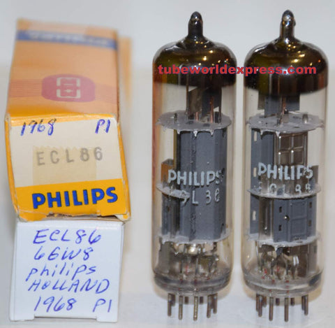 (!!!) (Recommended Pair) ECL86=6GW8 Philips Holland NOS dimpled disc getter halos 1968