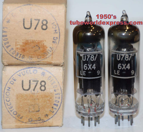 (!!!!) (Recommended 6X4 Pair) U78=6X4 GEC black plates branded MWT (Marconi Wireless Telegraph) UK NOS