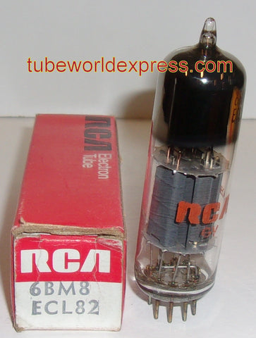 6BM8 Sylvania branded RCA NOS 1970's tilted glass