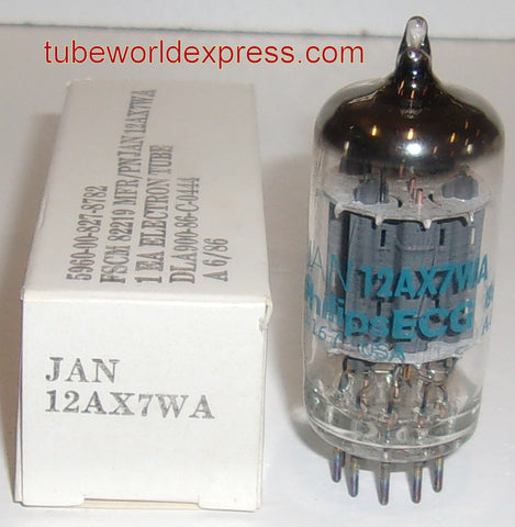 (!) JAN-12AX7WA Philips by Sylvania NOS 1986 (Gm=1650/1800)