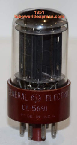 GL-5691 GE by RCA red base black plates low hours tests like new (1-35=1951) in white box (2.5/2.9ma)