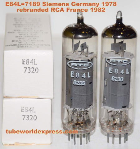 (!!!!) (Best Value PAIR) E84L Siemens NOS 1978 rebranded for Radiotechnique France (RTC) 1982 (35.8ma and 37.5ma)