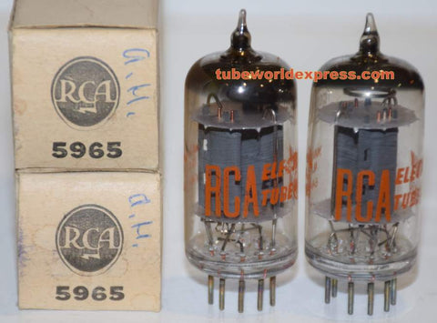 (!!) (Recommended RCA Pair) 5965 RCA NOS 1960's (13.0/14.2ma and 13.0/14.6ma)