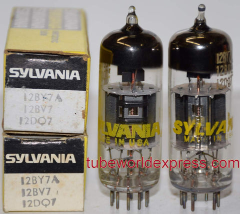 (!) (#1B 12BY7A Sylvania Pair) 12BY7A Sylvania NOS 1960's - 1970 (27.5ma and 27ma)