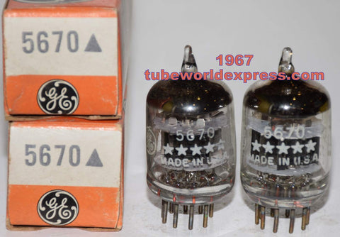 (!!!!!) (Recommended GE Pair) 5670 GE 5-Star NOS (SW) 1967 same date codes (6.2/8.2ma and 6.2/8.0ma)