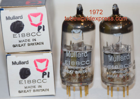 (!!!!!) (Best Mullard Pair) 7308=E188CC Mullard England NOS 1972 (19.2/21ma and 19.8/21ma) 1-2% matched (Highest Ma and Gm)
