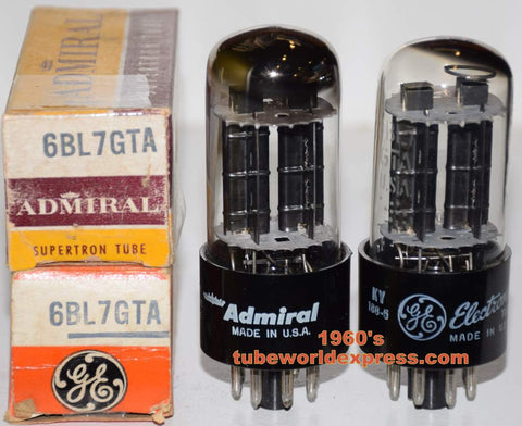 (!!!) (Recommended Pair) 6BL7GTA GE and GE branded Admiral 1960's (38/40ma and 35/45ma)