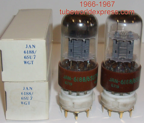 (!!) (#1 6188 PAIR) JAN-CTL-6188=6SU7WGT Tungsol NOS 1966 same date codes (2.8/2.8ma and 2.8/2.9ma) (highest Ma and Gm)