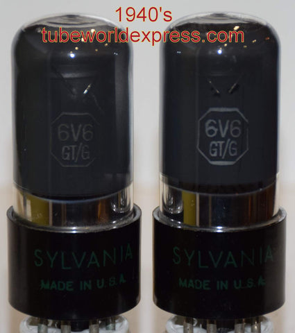 (!!!) (#1 6V6GT SYLVANIA PAIR 1940's) 6V6GT Sylvania green leaf coated glass NOS 1940's in white boxes (44.0ma and 44.2ma)